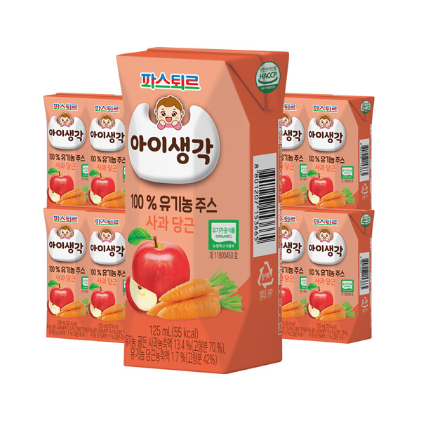 아이생각 유기농주스 사과·당근 125mL 24입