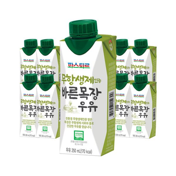 무항생제인증 바른목장우유 250ml 18입_해피